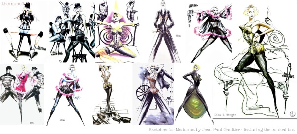 Jean Paul Gaultier's sketches for Madonna's Blonde Ambition Tour